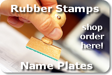 rubber stamps and name plates